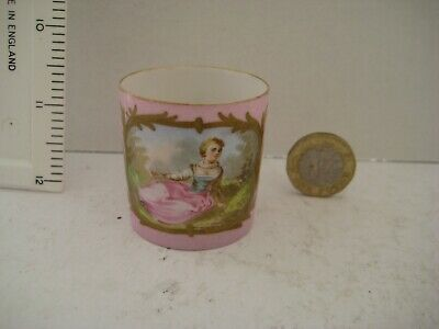Rare Vintage Sevres France Hand Painted Miniature Mug Scene In Cartouche • 69.99£