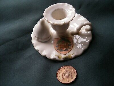 Crested China Candle Holder With Snuffer Crest Of Reigate • 4.20£