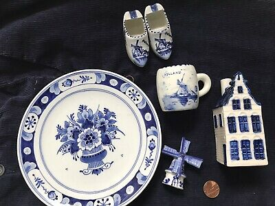 5x Delft Holland Handpainted Lot Plate Miniature House Cup Clogs Windmill • 30£