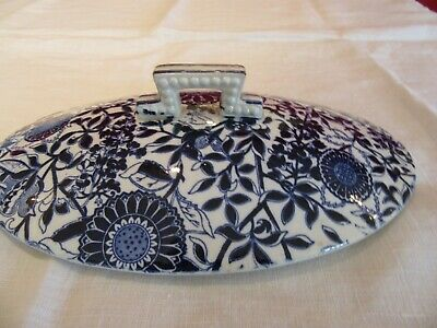 Antique BWM & Co Brown Westhead Moore Flow Blue Indian Express Tureen   Lid • 20£