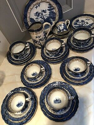 Booths Blue 'Real Old Willow' China Tea Set. 26 Piece Set • 35£