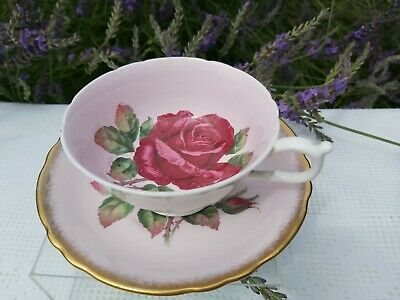 Paragon Hand Painted Signed By Artist Red Rose Cup & Saucer • 104£