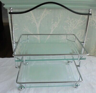 Art Deco  Chrome & Part Frosted Glass 2 Tier Cake Stand Black Bakelite Handle  • 10.99£