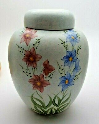 Hand Painted E. Radford Floral Lidded Ginger Jar - Perfect • 14.99£