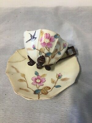 VIntage Old Small Cabinet  Cup & Saucer Oriental Flowers Bird  • 2.99£