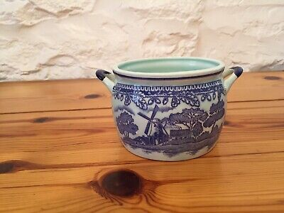 Light Blue China Pot. Dark Blue Pictures- Windmills And Boats. • 1£