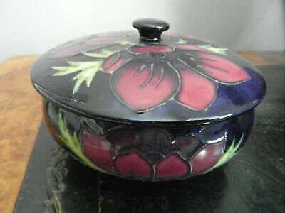 Large Complete Anemone Pattern Moorcroft Pin Dish With Cover • 49.95£