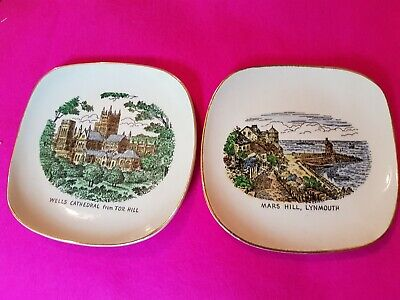 2 Vintage Pin Dishes Britannia Designs Wells Cathedral & Mars Hill Lynmouth  • 1.99£
