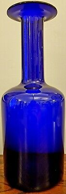 LARGE 12  195Os OTTO BRAUER FOR  HOLMEGAARD RICH COBALT BLUE GLASS GUL VASE VGC • 88£