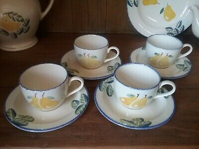 Poole Pottery Dorset Fruits Set Of 4 Pear Cups And Saucers • 10£