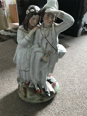A Staffordshire Flatback Figure Of A Young Couple 35 Cms High • 10.50£