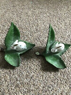 Pair Of Herend Green Polka Dot Rabbits On Green Leaves • 20.90£