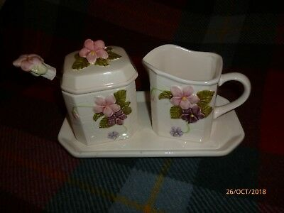 A Lovely Flower Decorative Pottery Cream Jug & Jam Pot With Matching Spoon. • 1.50£