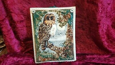 Signed Bryn Melyn Studio Pottery Plaque Tawny Owl • 22£