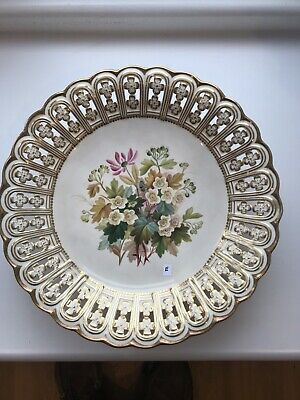 Minton Antique 19th Century Cake Stand Floral Painted & Reticulated (repaired) • 20£