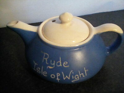 DEVONMOOR POTTERY 'Blueware' ~ 'Ryde Isle Of Wight' Teapot. Pre Owned. • 9.99£