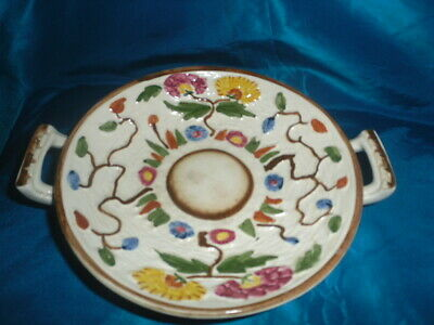 Unusual HJ WOOD Indian Tree Handpainted Footed Double Handled Dish/saucer GUC • 3£