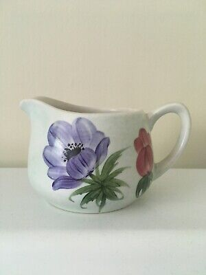 Vintage 1950s Radford England Pottery Handpainted Milk Jug Purple & Red Flowers • 3.99£