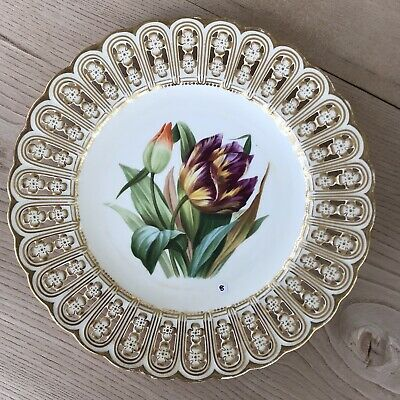Minton Antique 19th Century Plate Floral Painted & Reticulated (repaired) • 10£
