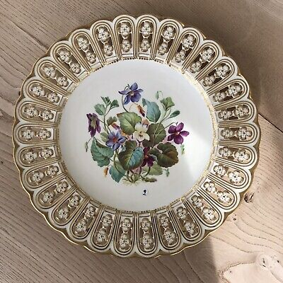 Minton Antique 19th Century Plate Beautifully Floral Painted & Reticulated • 12.50£