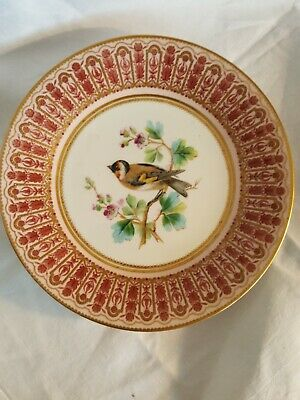 Antique Royal Crown Derby Hand Painted Plate - Goldfinch • 19.99£