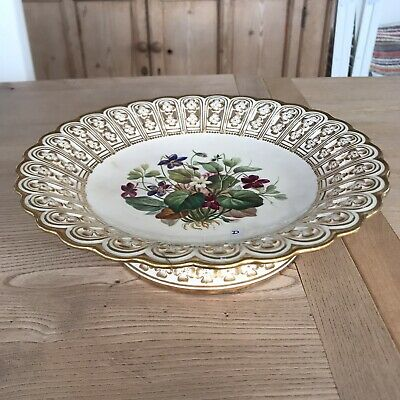 Minton Antique 19th Century Cake Stand Floral Painted & Reticulated (repaired) • 10£