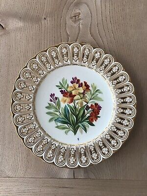 Minton Antique 19th Century Plate Beautifully Floral Painted & Reticulated • 25£