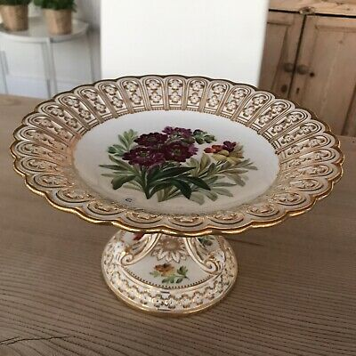 Fine Minton Antique 19th Century Cake Stand Floral Painted & Reticulated • 25£