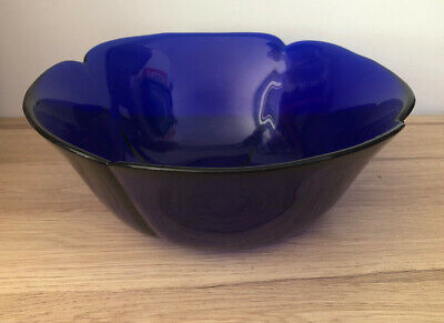 """COLBOLT BLUE HEAY GLASS BOWL Large 11"""" Bowl Made In Italy VGC • 29.95£"""