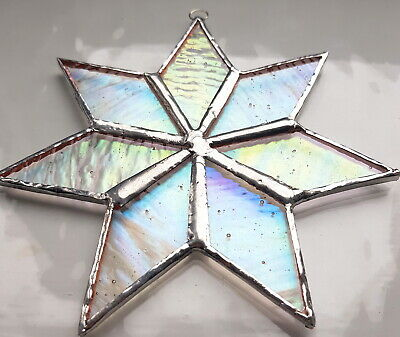 Clear Iridescent Star Stained Glass Suncatcher Window Wall Hanging Home Decor • 19.95£