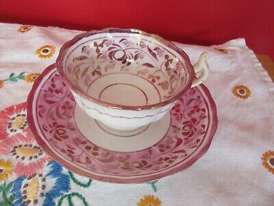 Stunning Antique Bone China Hand Painte  Pink Lustre Cup & Saucer • 10£