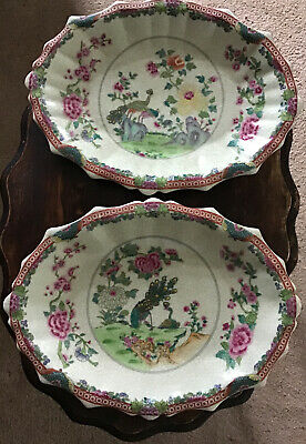 A Pair Of Chinese Peacock & Floral Crackle Glaze Scalloped Platters  • 42.50£