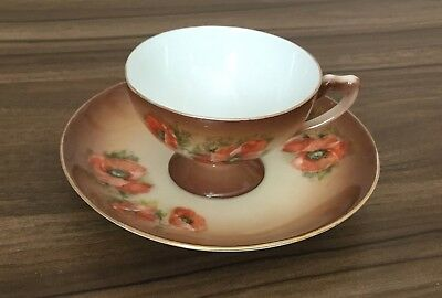 Small China Cup And Saucer - Brown With Red Poppy Design • 9£