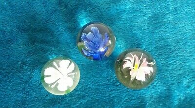 Trio Of Vintage Glass Flower Paperweights • 4.60£