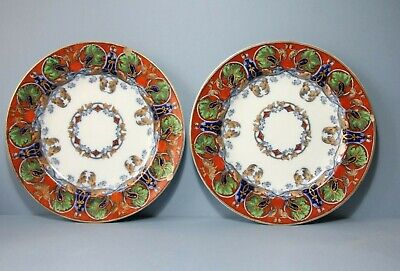 Pair Of Antique  Flow Blue, Dinner Plates  Nightingale  10.5   • 65£