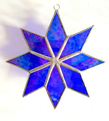 Blue Iridescent Star Stained Glass Suncatcher Window Wall Hanging Home Decor • 19.95£
