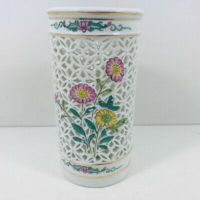 Chinese Planter Decorative Pottery Lattice Floral Design  • 9.50£