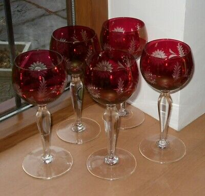 5 X CUT TO CLEAR CRANBERRY HOCK/WINE GLASSES 6.6  TALL  • 44.95£