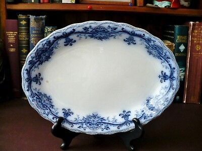 Antique Art Nouveau Flow Blue Platter - Myott & Son C 1907 Flow Blue Platter • 44.99£