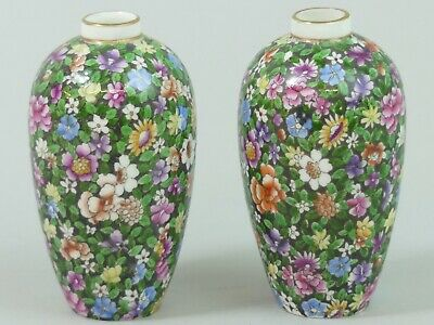 Antique Pair Of Tuscan China Floral Chintz Porcelain Vases C.1910 • 56£