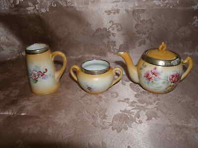 Antique Miniature China And Hall Marked Silver Teapot / Tea Set 1907 • 39.99£