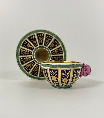 Spode Porcelain Butterfly Handle Cup And Saucer, C. 1815. • 480£