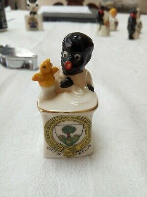 Arcadian Crested China Black Boy & Chick 70 Mm City Of Wells No Damage • 70£