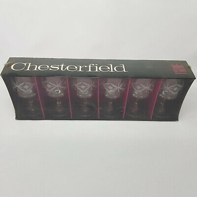 Boxed 6 X Retro Chesterfield Decorated Vintage Sherry Glasses 1970's Dema NEW • 6.90£