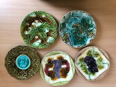 Five Vintage Majolica Plates With Raised Relief • 25£