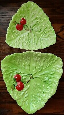 2 Vintage Carlton Ware Triangular Cabbage Leaf And Tomatoes Plates • 18.90£
