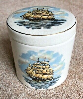 Pottery Lidded Jam Container Tall Sailing Ship Graphic By Lancaster & Sandland  • 3.95£