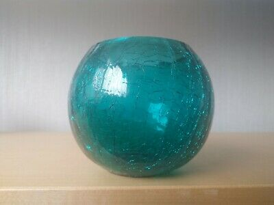 Small Green Crackle Glass Round Bowl Vase Fluted 10cm Diameter • 3£