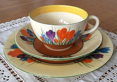 Clarice Cliff Autumn Cocus Trio - Cup, Saucer, Side Plate - Perfect • 50£