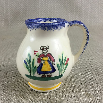 Quimper Pottery Jug Creamer Miniature Petit Bretton French Hand Painted • 18£
